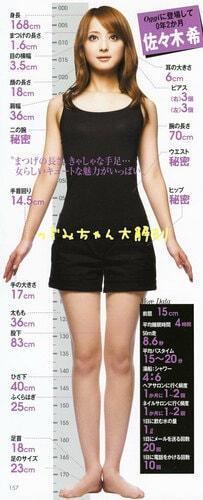 佐々木希の全身のサイズ